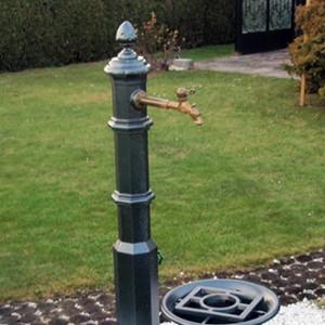 Gartenbrunnen mit Aluschale und Messing-Auslauf